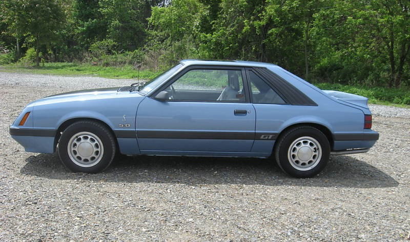 Light Regatta Blue 1985 Mustang GT Hatchback