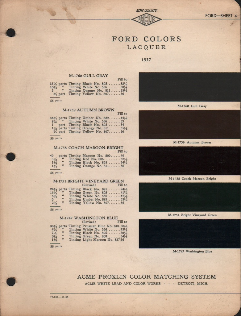 Paint Chips 1937 Ford Truck 1951 Cadillac Colors