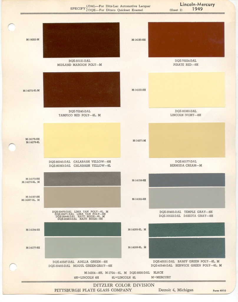 Paint Chips 1949 Lincoln Mercury