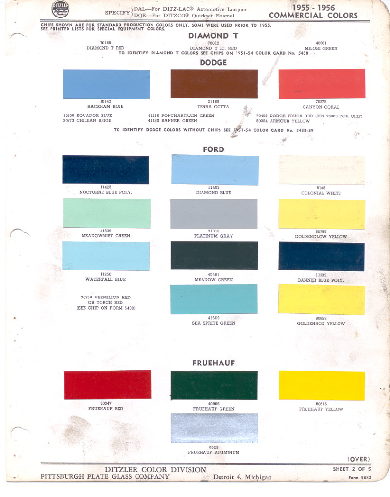 Truck Paint Colors Chart Color Ideas 1951 Chevrolet Chips 1956 Ford Fleet Commercial