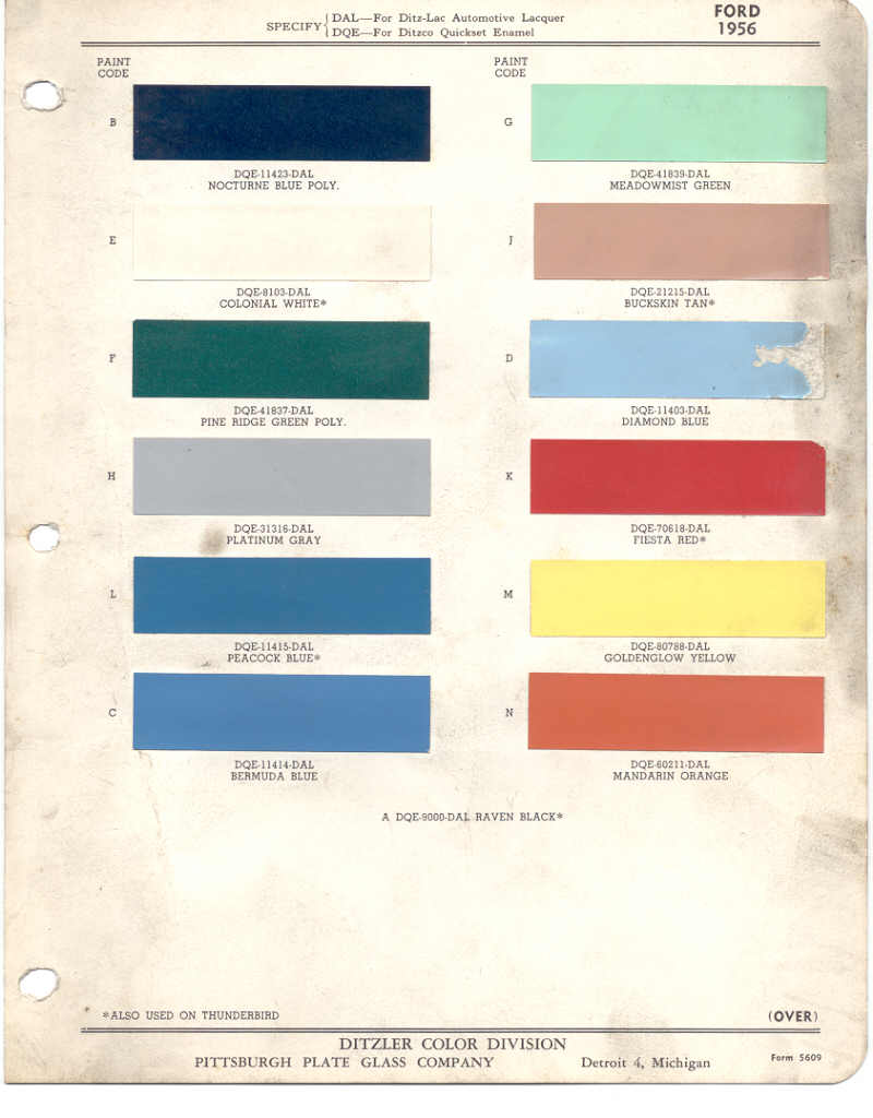 1956 Ford Fairlane Paint Colors Color Ideas 1957 Chevy Chart Chips
