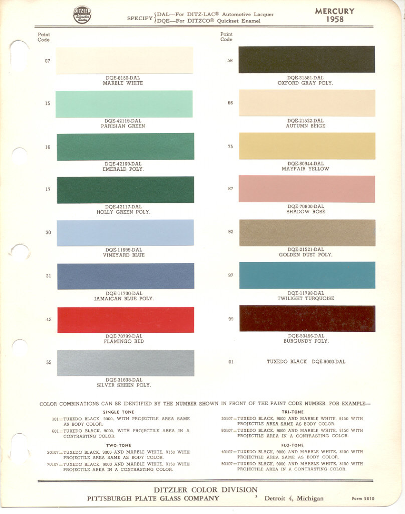 Paint Chips 1958 Ford Edsel