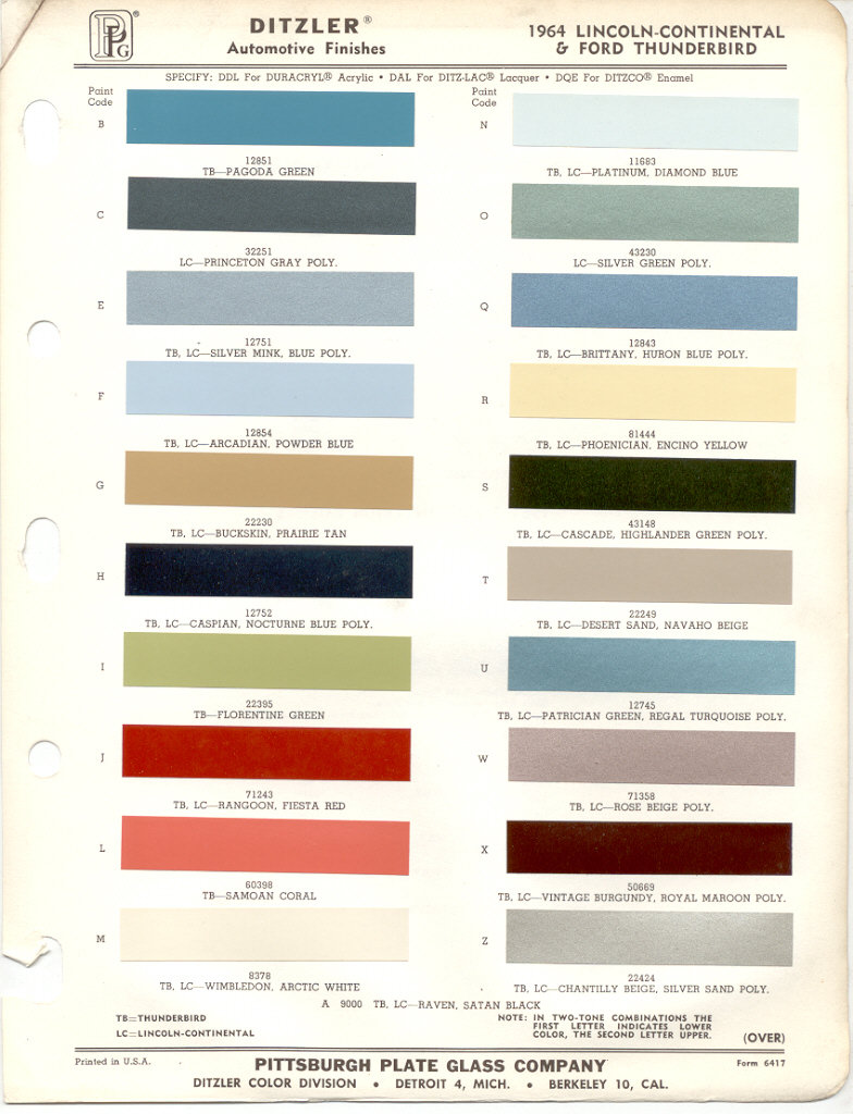 1964 ford thunderbird paint colors. Black Bedroom Furniture Sets. Home Design Ideas