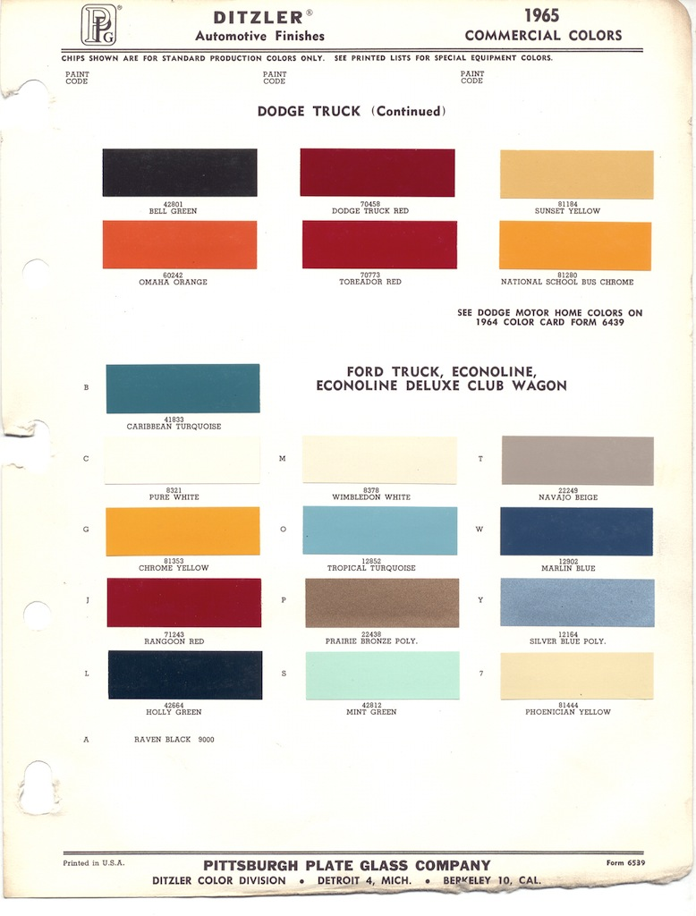 Ppg Car Paint Colors >> 1965 Ford paint chips