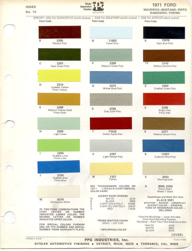 Paint chips 1971 ford mercury nvjuhfo Images