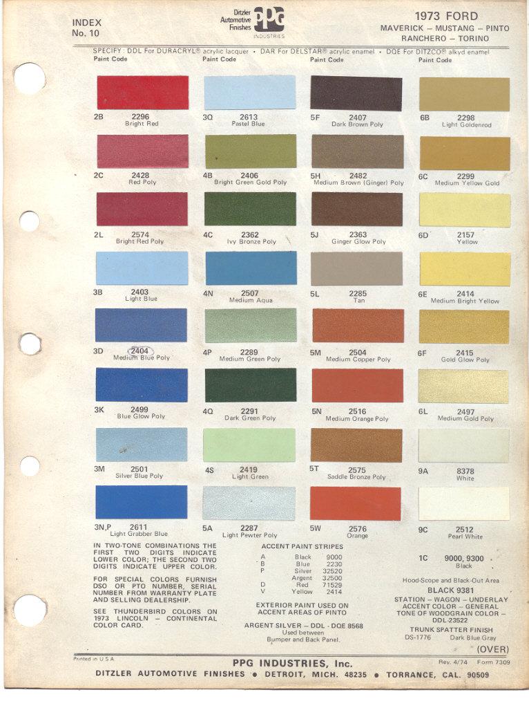 Mustang Interior Paint Codes