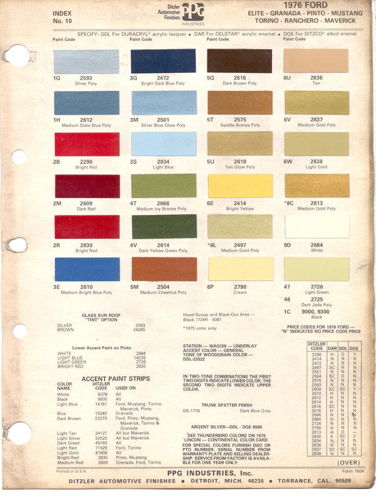 Ford Exterior Paint Codes Part - 50: Paint Chips 1976 Ford Elite Granada Pinto Mustang Torino Ranchero Maverick
