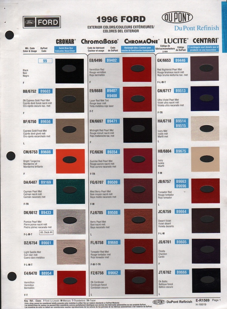 Paint Chips 1996 Ford Aerostar