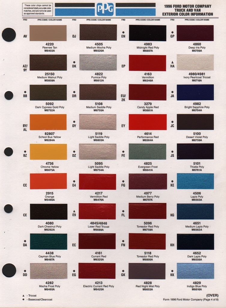 Paint chips 1996 truck van fleet for Exterior house paint comparison chart