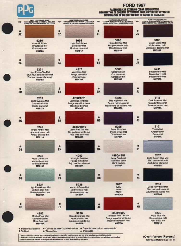 Ppg Colors Automotive >> 1997 Ford escort paint colors
