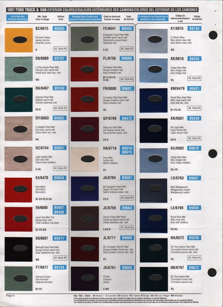 Ford Exterior Paint Codes Part - 39: MustangAttitude.com