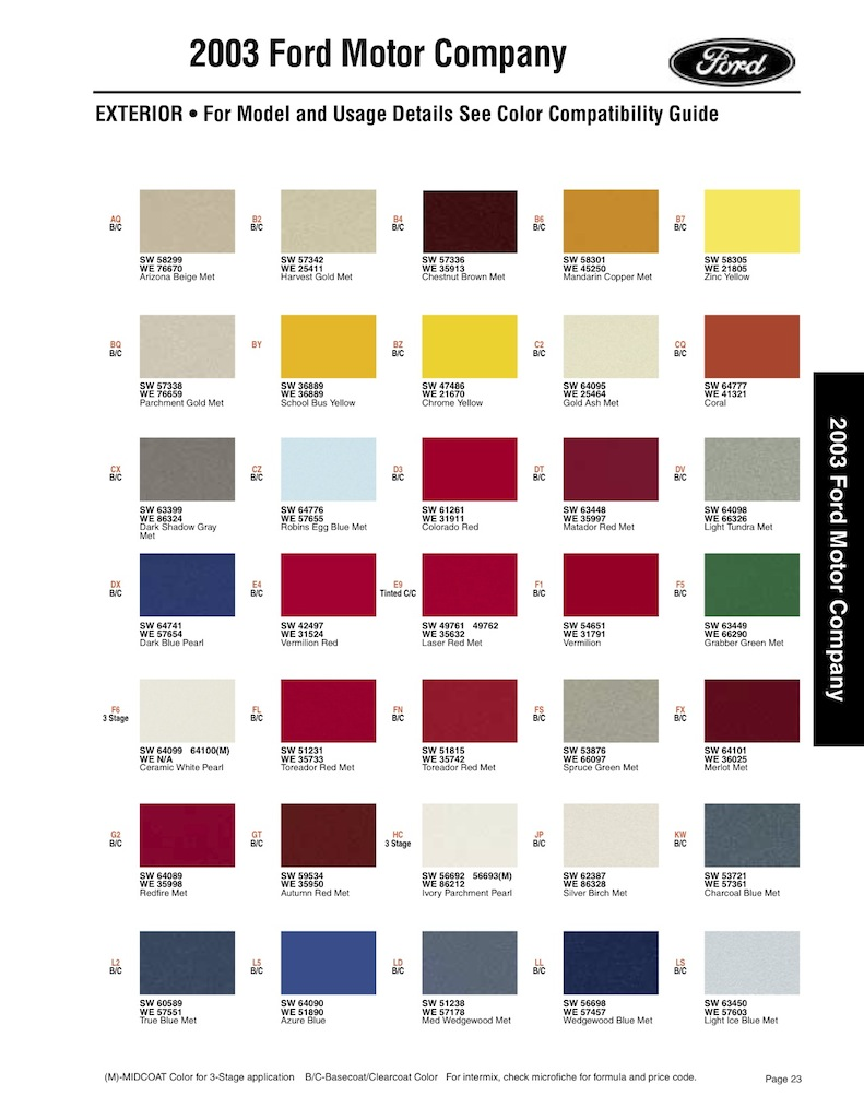Ford Group Paint Charts And Color Codes