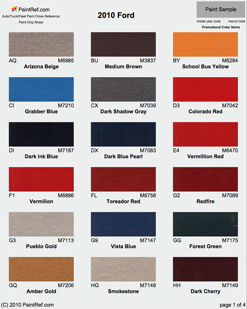 2015 Ford Explorer Color Chart >> Paint Chips 2010 Ford F150