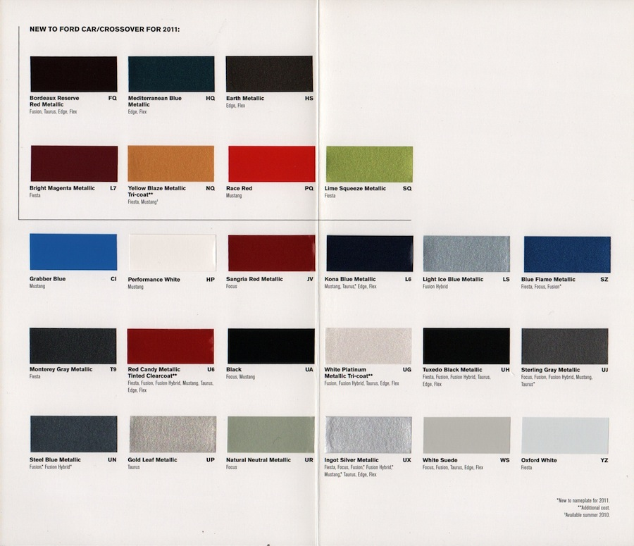 2015 Ford Explorer Color Chart >> Paint Chips 2011 Ford Fiesta