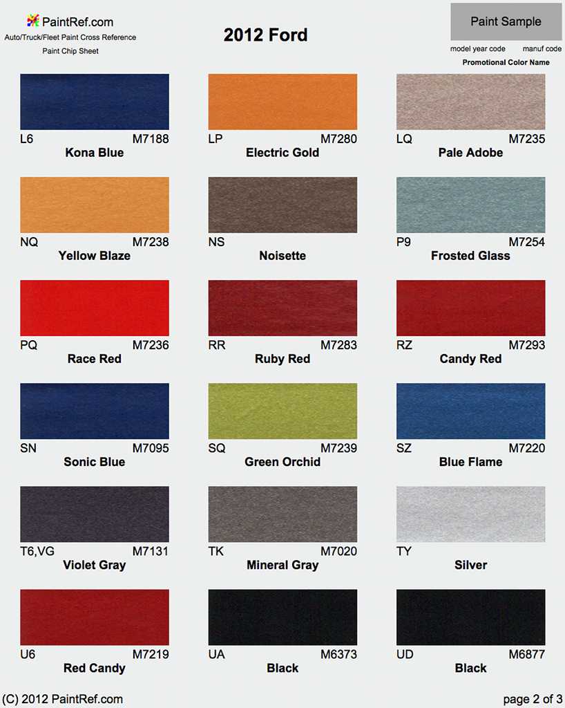 Ford Exterior Paint Codes Part - 37: Paint Chip Pages Are Presented For Research Use Only. Company Marks,  Emblems, And Page Design Are Trademarks And/or Service Marks Of  PaintRef.com.