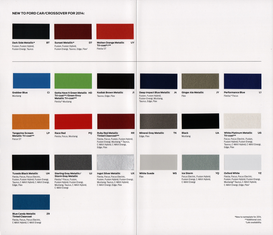 2014 Ford Escape Exterior Colors >> Paint Chips 2014 Fusion Taurus Edge Flex Fiesta Mustang C-Max