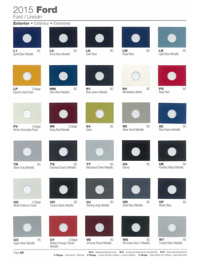 2015 Ford Explorer Color Chart >> Paint Chips 2015 Ford Mustang