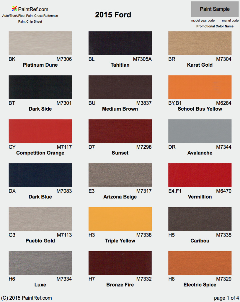2015 Ford Explorer Color Chart >> Paint Chips 2015 Ford