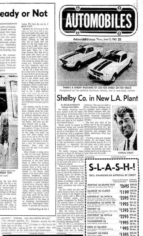 1965 Mustang Newspaper History