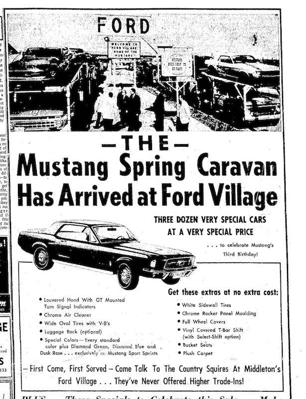 1967 mustang newspaper history