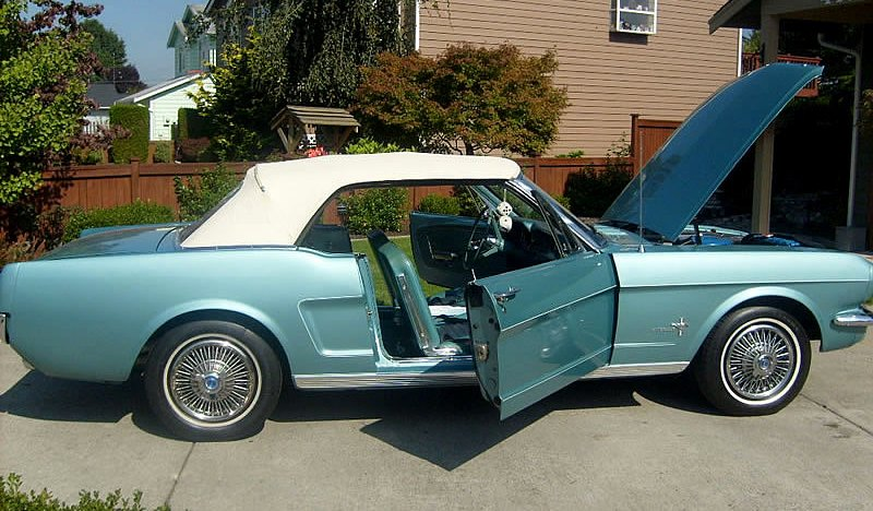 Tahoe Turquoise 1966 Mustang convertible top up