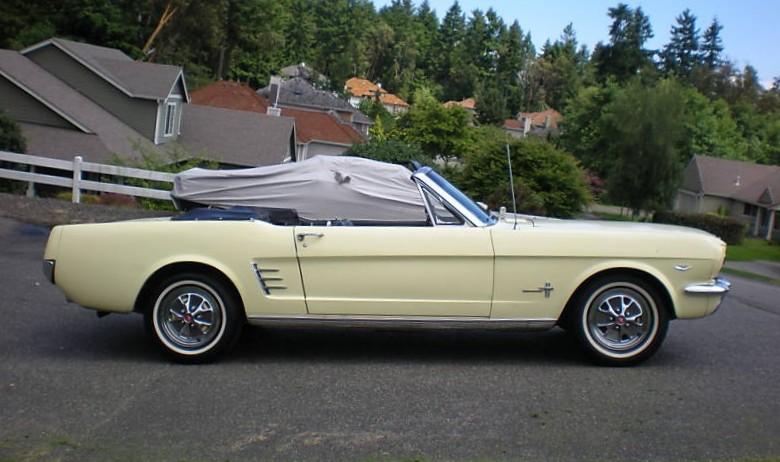 Springtime Yellow 66 Mustang Convertible