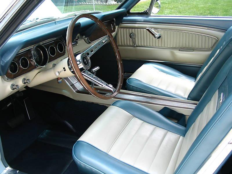 Blue and White Pony Interior  1966 Mustang Hardtop