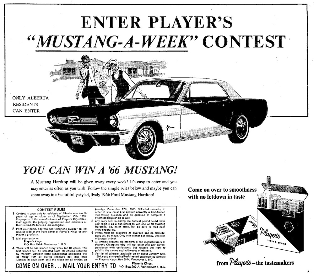 October 1965 Alberta CA - Players Special Edition Mustang