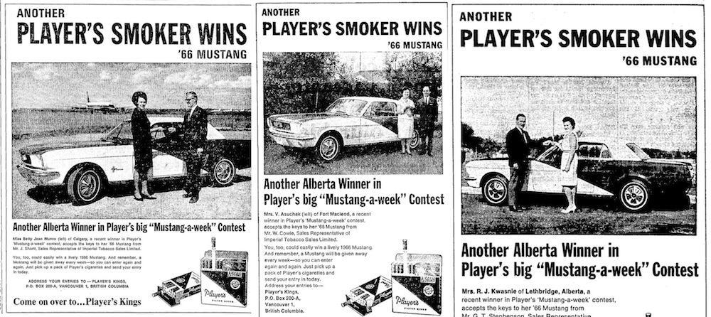 July - August 1966 Aberta Player's Mustang contest