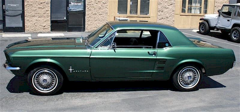 Dark Moss Green 1967 Mustang left side view