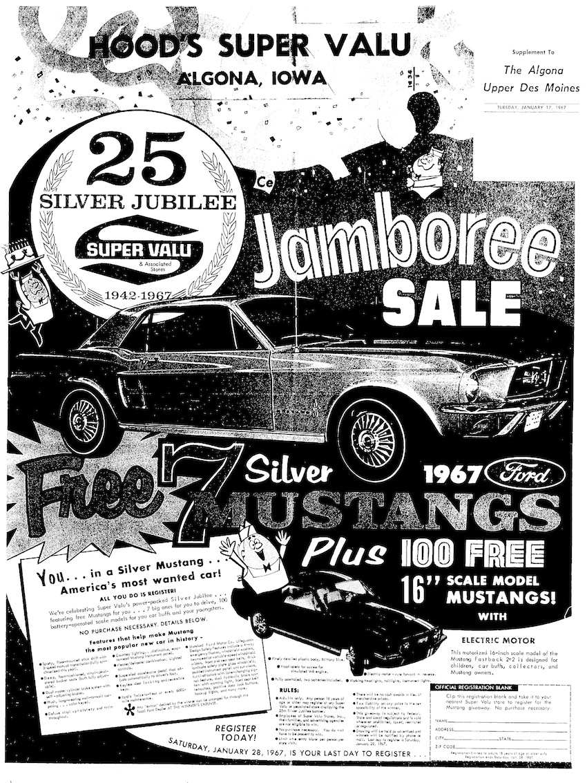 1967 Super Valu Silver Anniversary Mustang Sweepstakes
