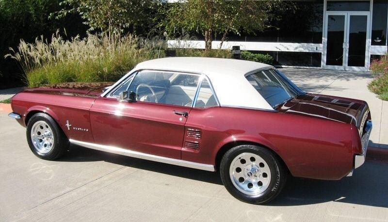 Vintage Burgundy 1967 Ford Mustang Hardtop