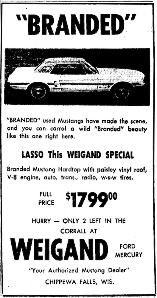 1967 Branded Mustang Ad