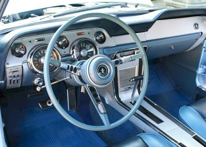 Arcadian blue 1967 ford mustang gta fastback photo detail for 1967 mustang interior pictures