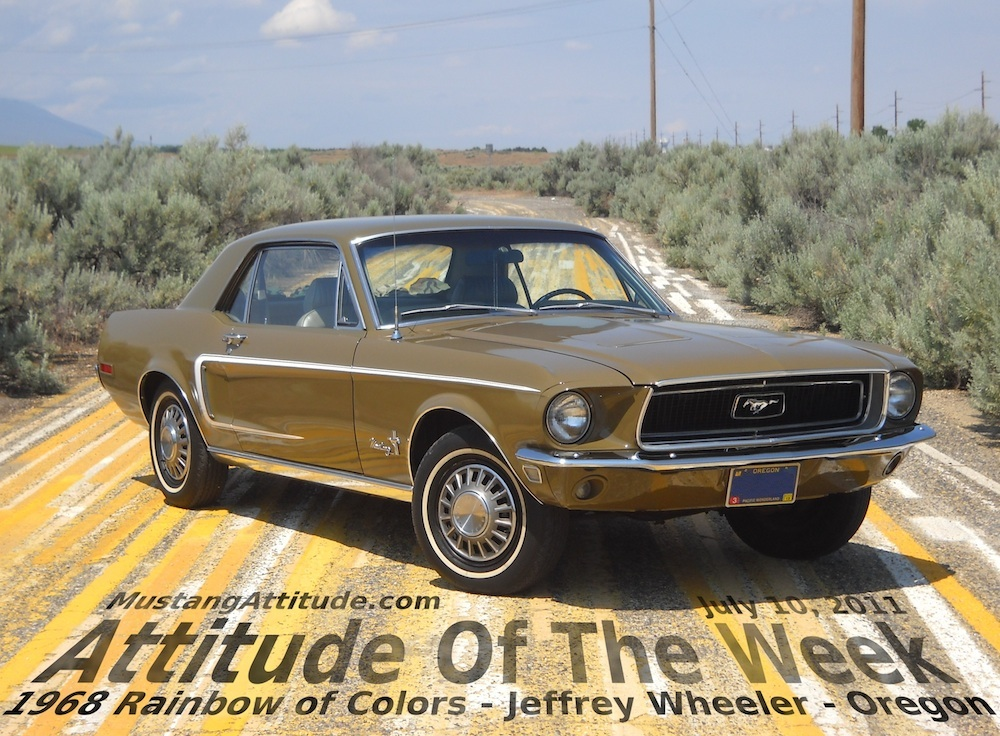 Olive Green Rainbow of Colors 1968 Mustang Hardtop