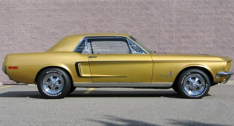 Sunlit Gold 1968 Mustang right side view