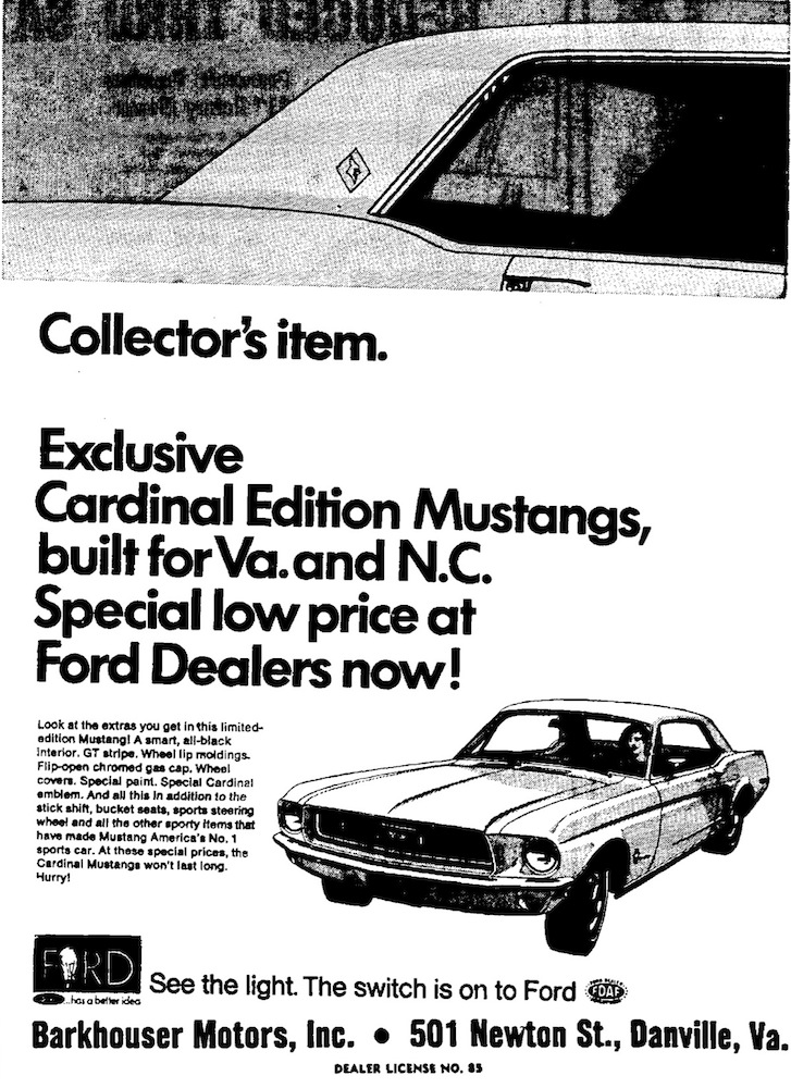 White 1968 Cardinal Special Mustang advertisement