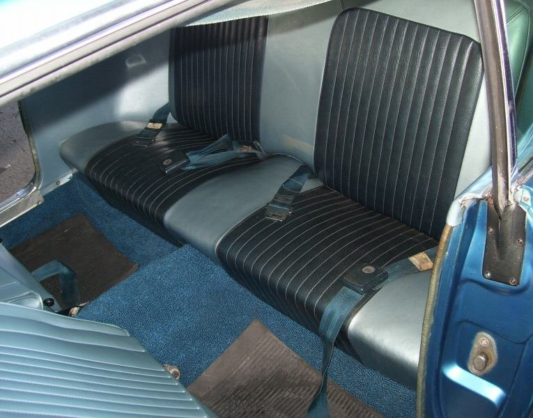 Rear Seat Blue Interior 1968 Mustang GT/CS Hardtop