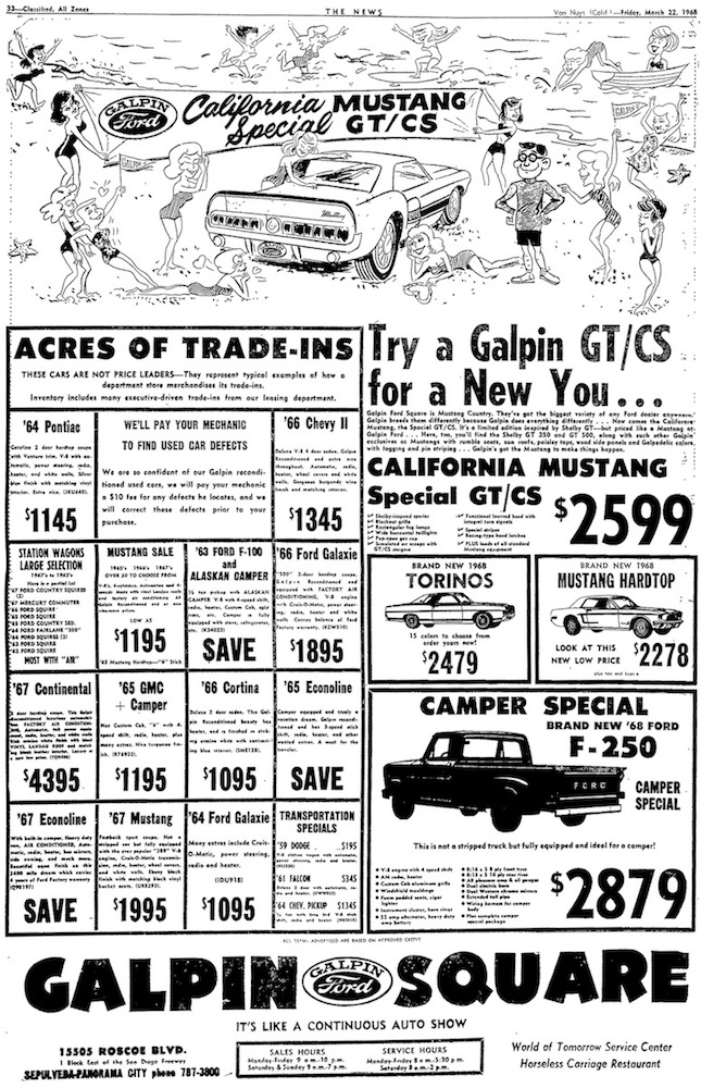 GT/CS Advertisement by Galpin Ford 1968