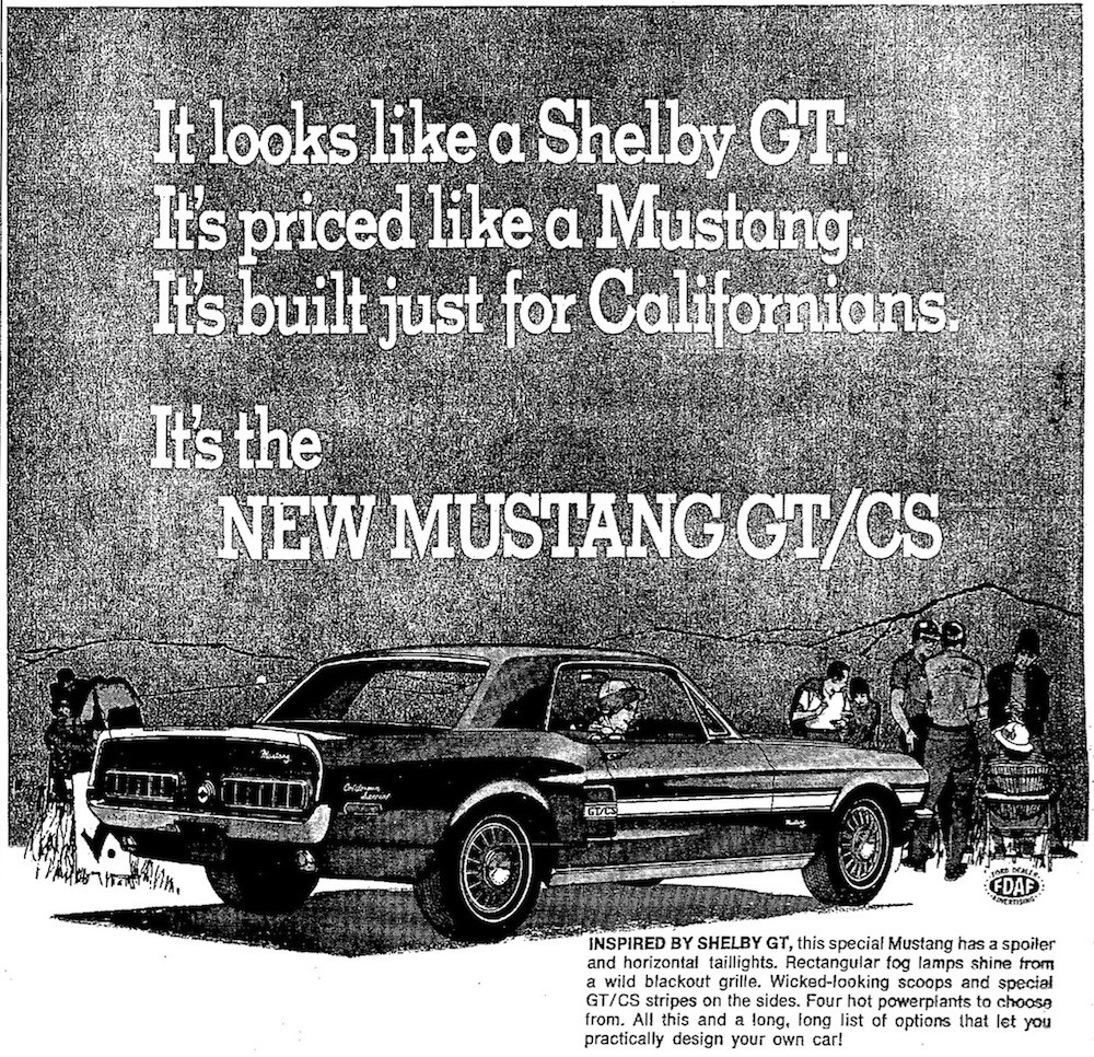 Ford ad for the 1968 Mustang GT/CS