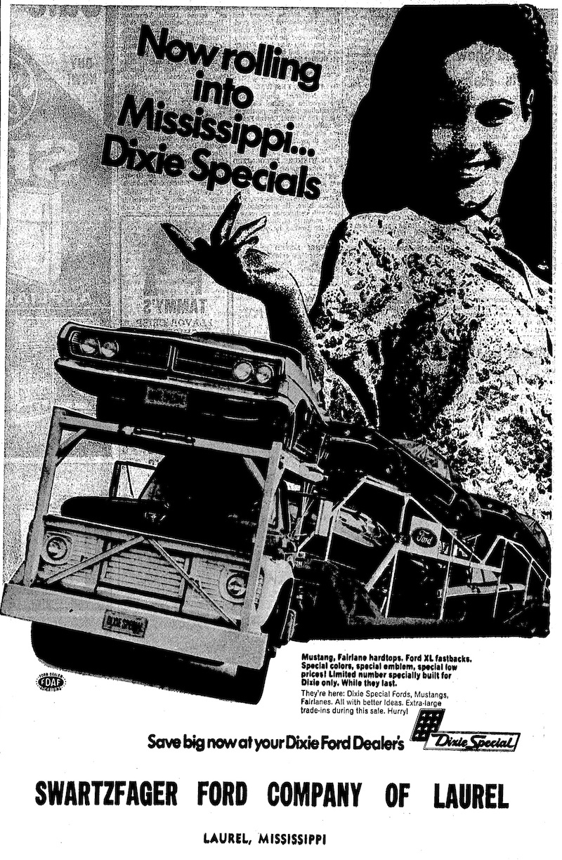 Newspaper Advertisement for the 1968 Dixie Special Mustang