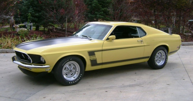 Bright Yellow 1969 Boss 302 Mustang Fastback