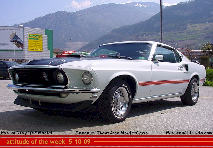 Pastel Gray 69 Mustang Mach 1 Fastback