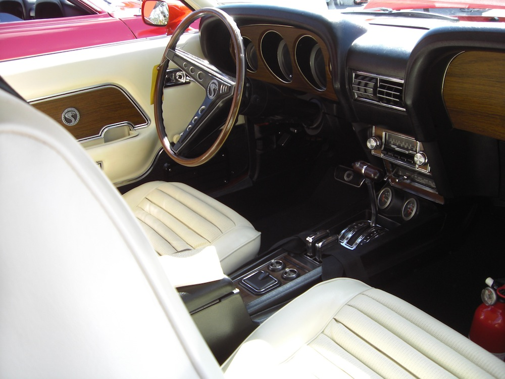 White and Black Interior 1969 Mustang Shelby GT500 Fastback