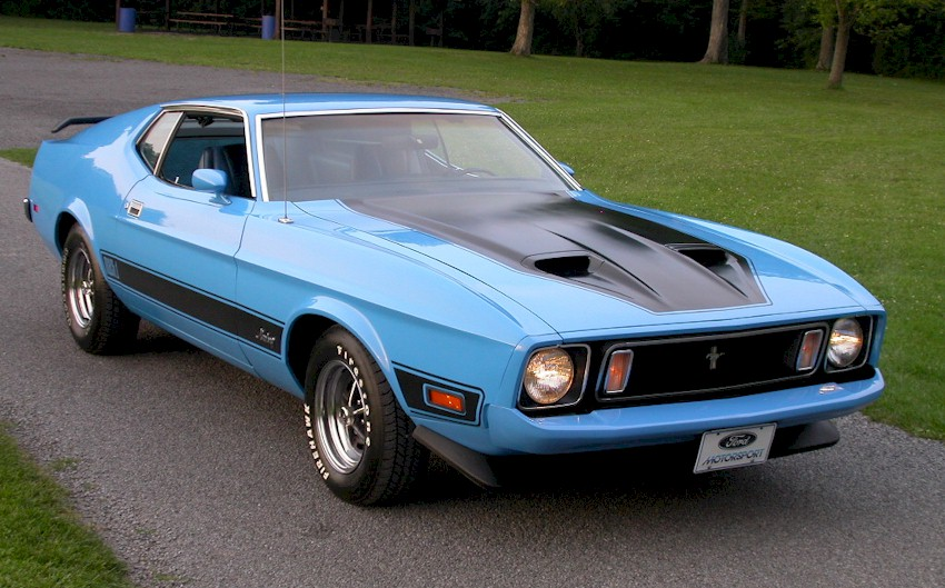 medium aqua blue 1973 mach 1 ford mustang fastback - cool photo