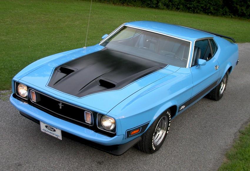 Medium Aqua Blue 1973 Mach 1 Ford Mustang Fastback