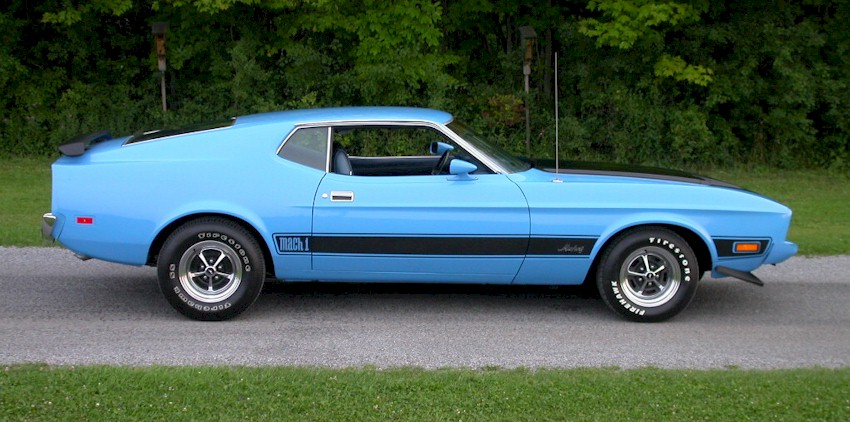 Medium Aqua Blue 1973 Mustang Mach 1