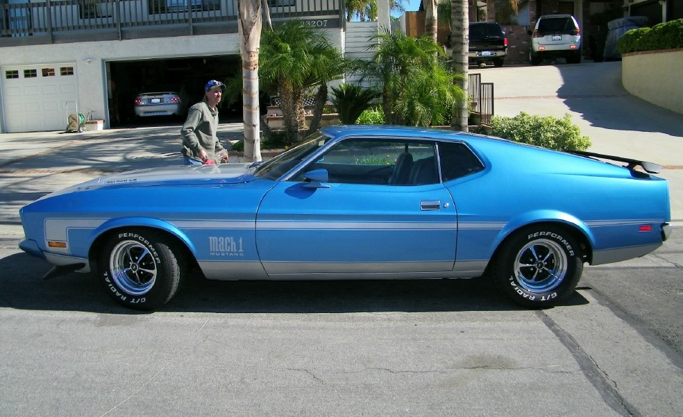 Medium Blue 73 Mach 1 Fastback