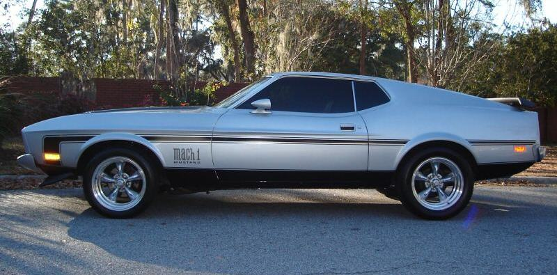 Light Pewter Silver 1973 Mach 1 Ford Mustang Fastback