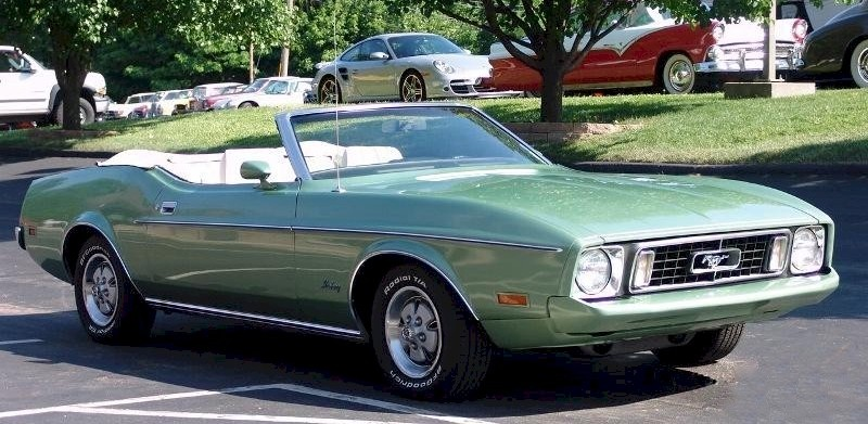 Medium Green Metallic 1973 Mustang Convertible